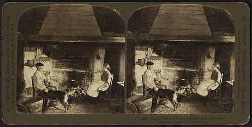 The old folks at home, interior of an Irish cabin | by Boston Public Library
