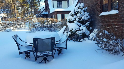 Snowy patio