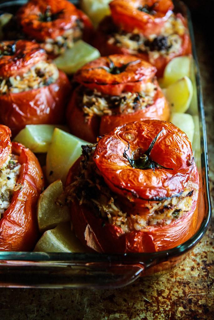 Greek Stuffed Tomatoes from HeatherChristo.com
