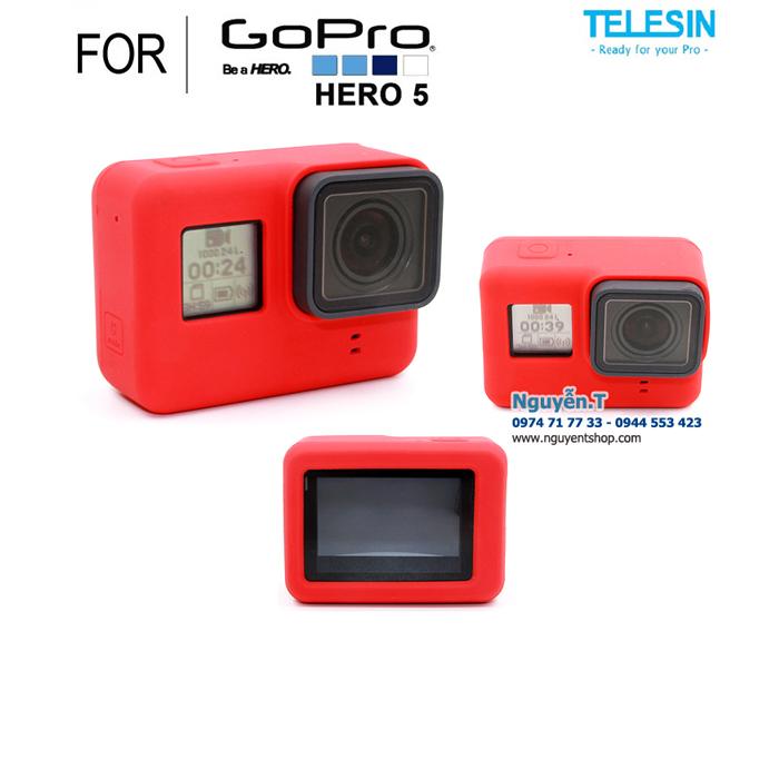 Vỏ Silicon cao su Telesin chống sốc GoPro 5 | RED
