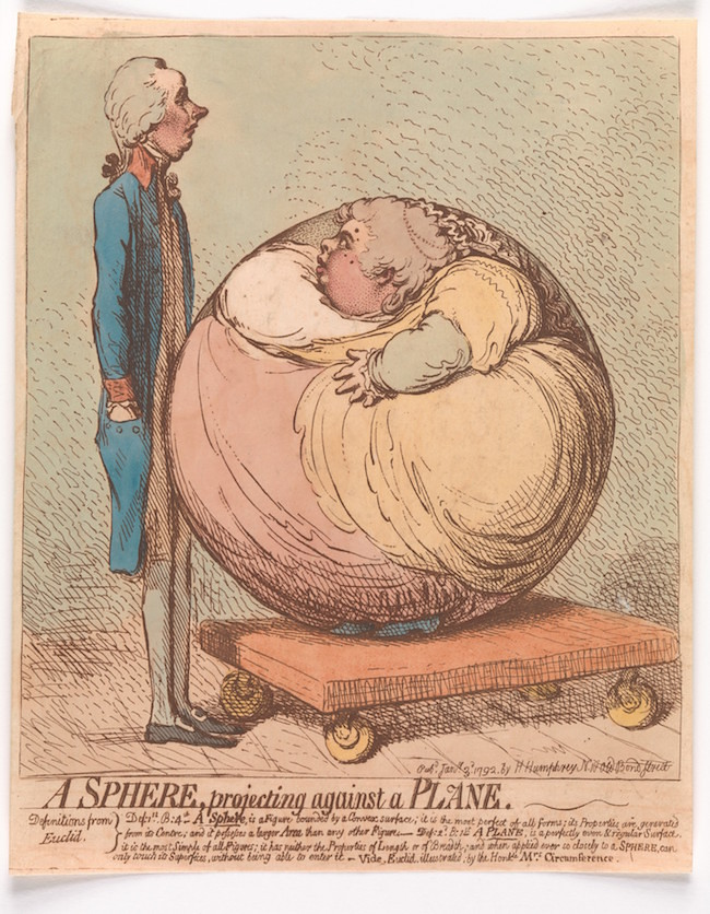 A Sphere, Projecting Against a Plane by James Gillray, 1792