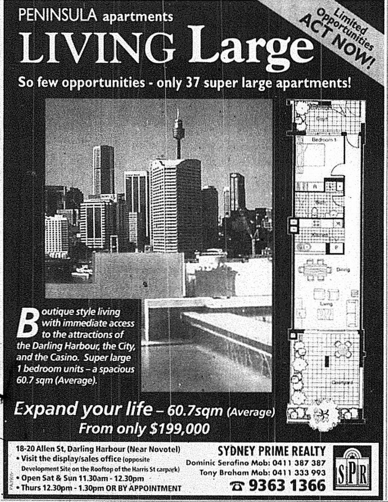 Peninsula Apartments Pyrmont June 11 1998 SMH 17RE