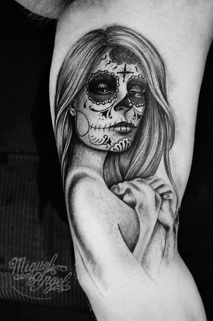 Custom Day Of The Death Girl Tattoo Miguel Angel Custom Ta Flickr