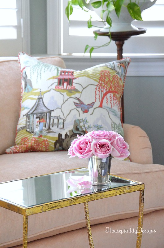 Master Bedroom-Sofa-Chinoiserie pillow-Pink-Housepitalty Designs