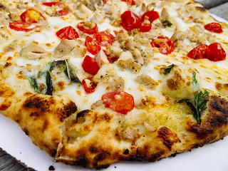 Chicken pesto pizza at Stoked Pizza | by Hybernaut