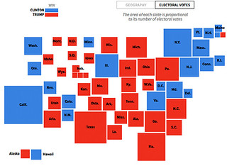 State: Winner, areas scaled to number of electoral college votes | by BekJonesGeo