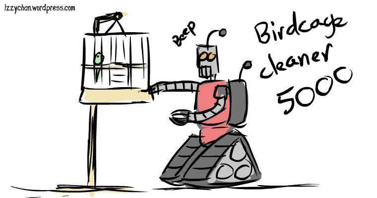 robot cleaning bird cages