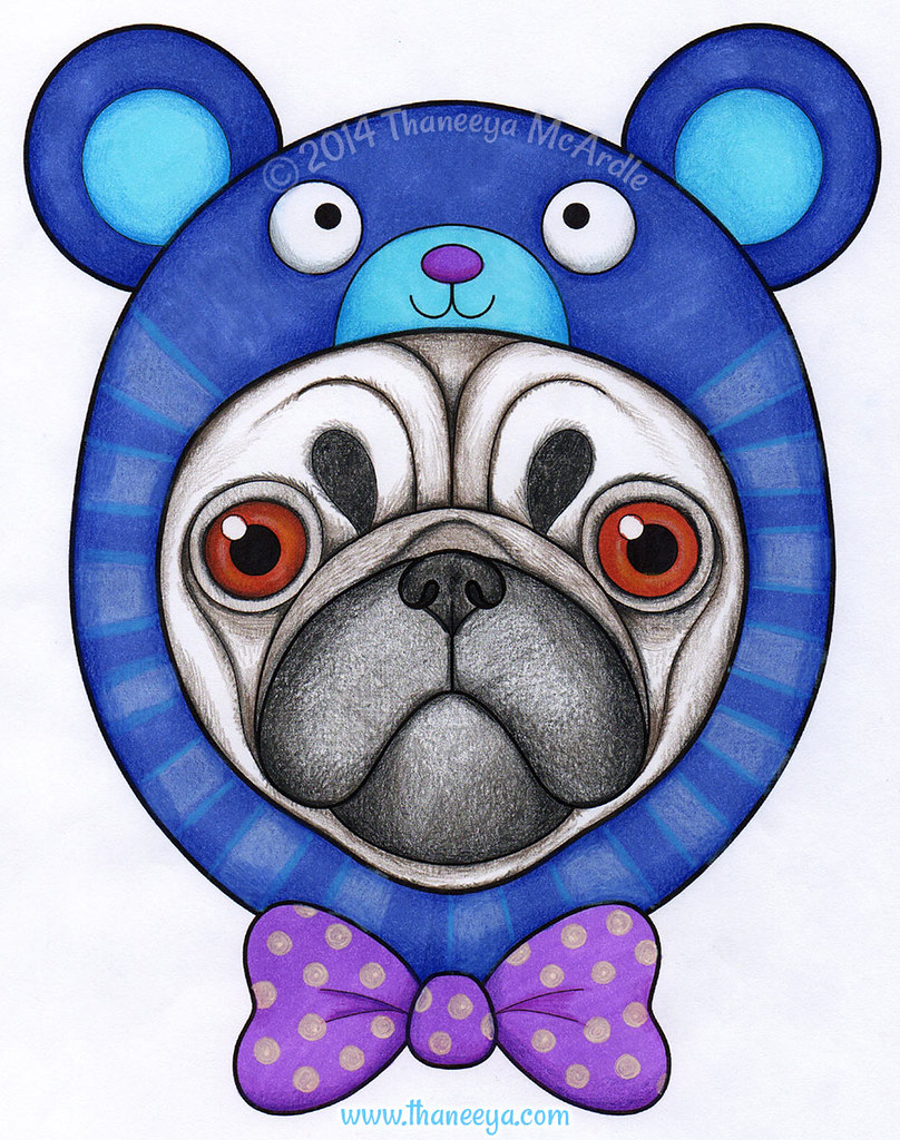 Hipster Pug Drawing By Thaneeya McArdle