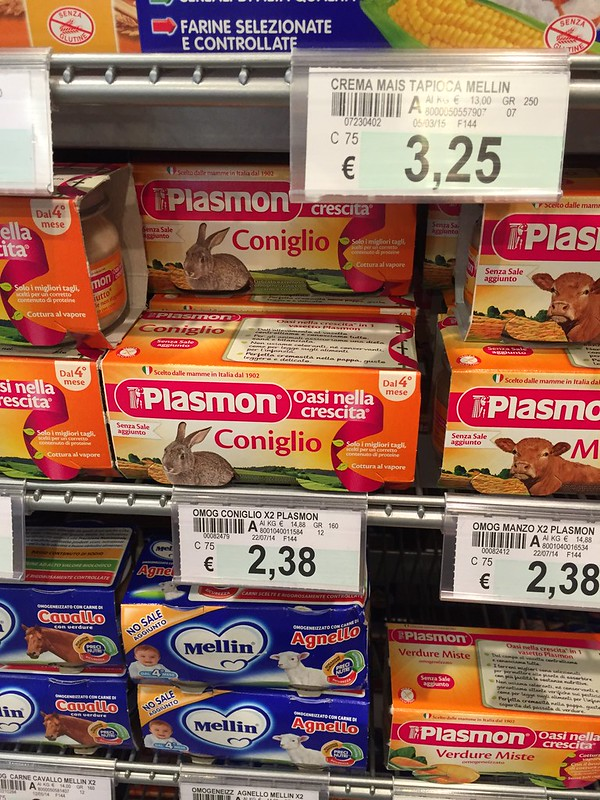 Plasmon is a baby food brand owned by Heinz and apparently it produces baby food with rabbit meat