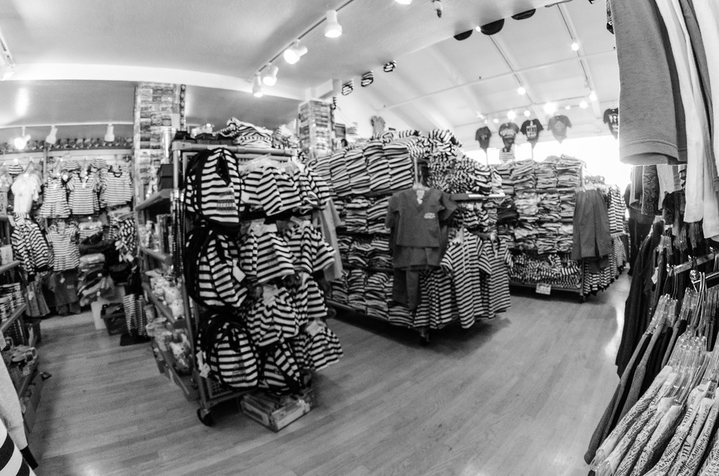 B&W Fisheye of the Alcatraz Gift Shop on Pier 39 | m01229 | Flickr