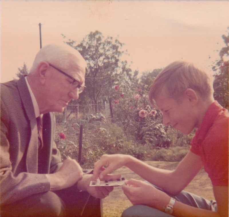 Playing draughts in the garden, 1970s