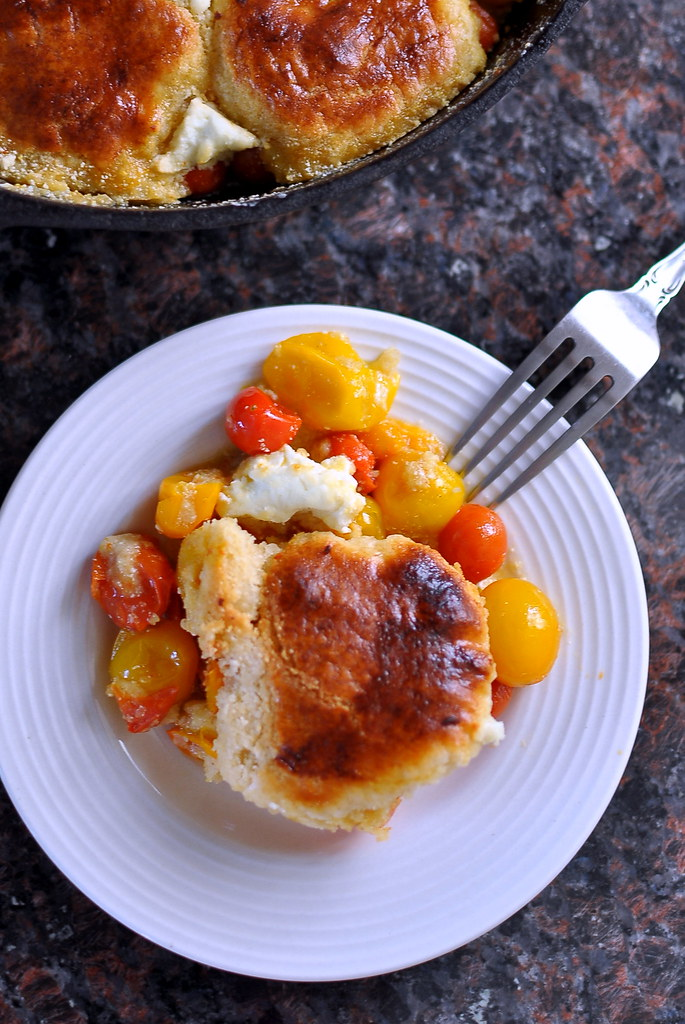 Cherry Tomato-Goat Cheese Cobbler