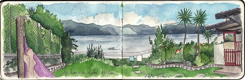 Enjoying my little house-with-a-view that I rented along Lake Atitlán in Guatemala in 2015. Artist Candace Rose Rardon