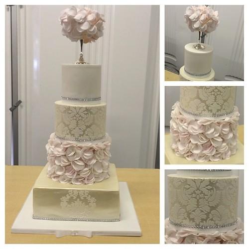 Champagne Damask Wedding Cake With Coral Blush Pink Ru Flickr