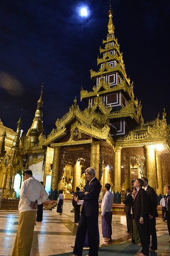 Secretary Kerry Walks Under Near-Full Moon During Visit to Shwedagon Pagoda in Rangoon | by U.S. Department of State