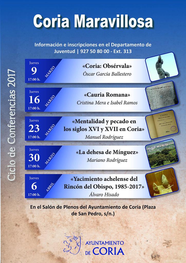 Coria Maravillosa 2017 comenzará sus conferencias el jueves 9 de marzo