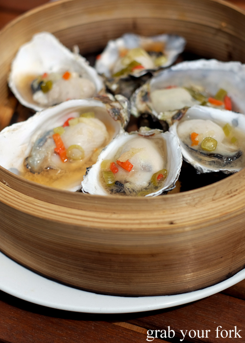Steamed Oriental oysters at Get Shucked on Bruny Island in Tasmania