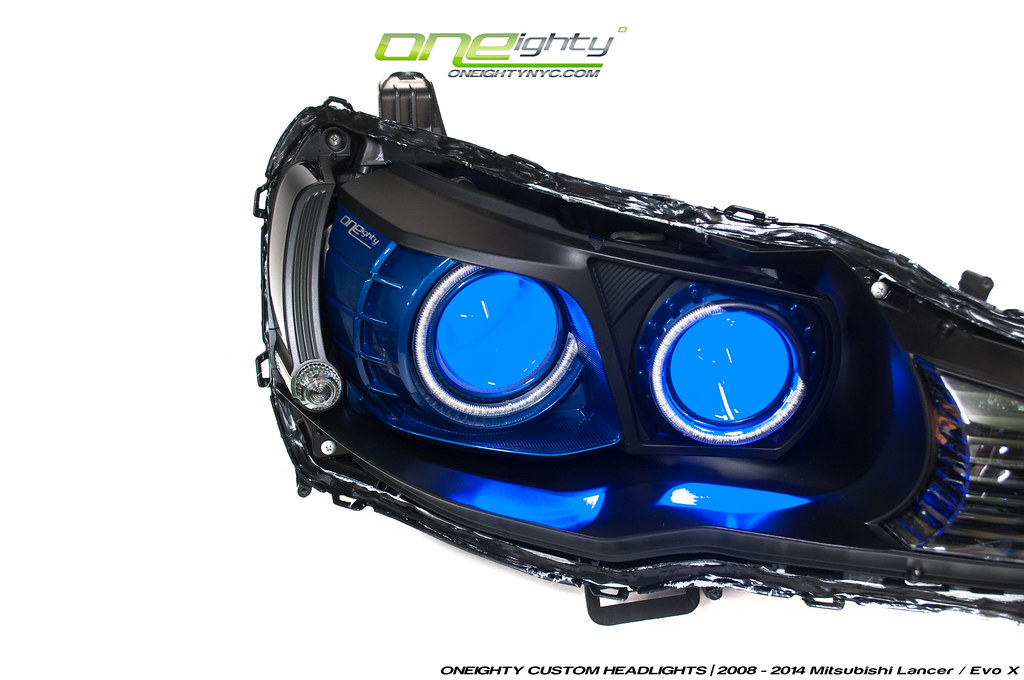 mitsubishi evo x custom headlights by oneightynyc