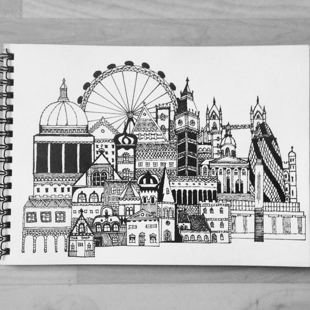 Summer Afternoon Fun Drawing London Sketch Art Londoneye Stpaul