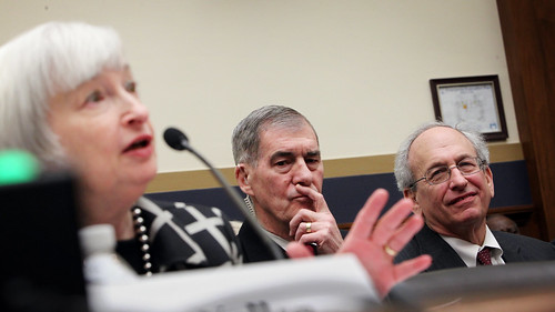 Federal Reserve Chairman Janet Yellen testifies before the House Finance Committee with Senior Fellow Donald Kohn observing. | by BrookingsInst