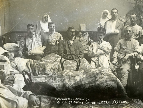 Nursing the wounded at Norwich during the First World War at the Convent of Little Sisters (near the Roman Catholic Cathedral)