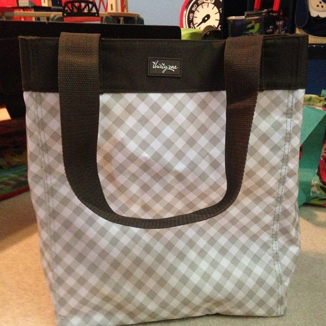 Thirty One Collectors Edition Essential Storage Tote/ Taupe Gingham $28 |  By Heather.