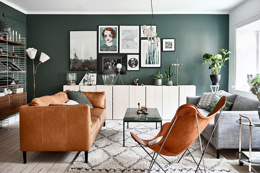 Green Scandinavian Home