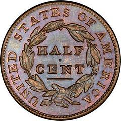 Garrett 1831 Reverse of 1836 Half Cent reverse