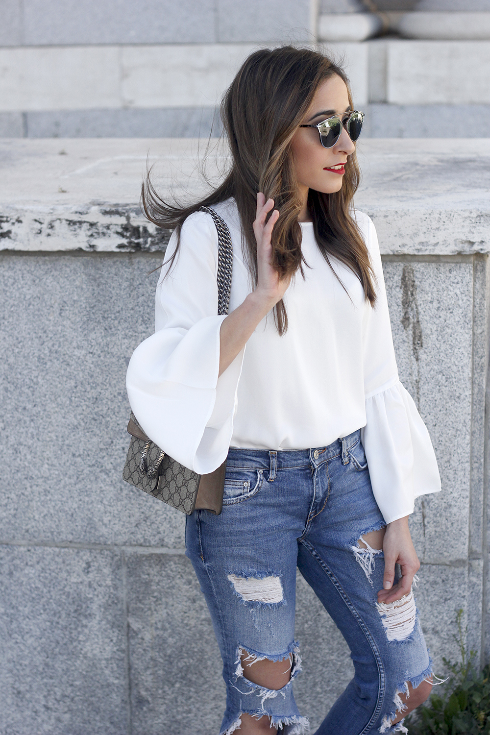 ripped keans gucci bag Jewel ballerinas uterqüe white blouse outfit style fashion02