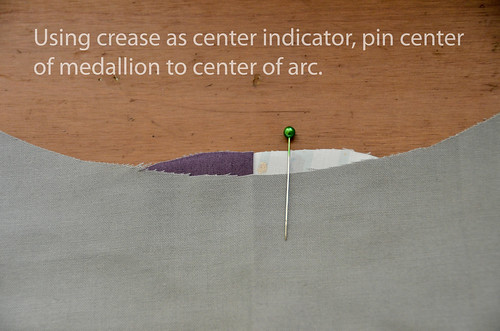 2. Center & pin first medallion to melon