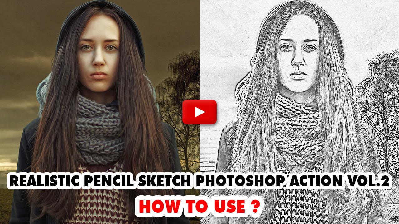 Realistic pencil sketch photoshop action vol 2 1