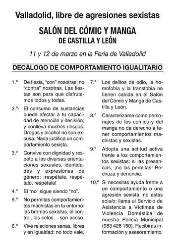 XI Salón del Cómic y Manga de Castilla y León Igualdad.
