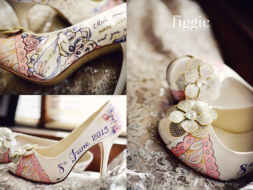 Peach And Navy Blue Painted Wedding Shoes
