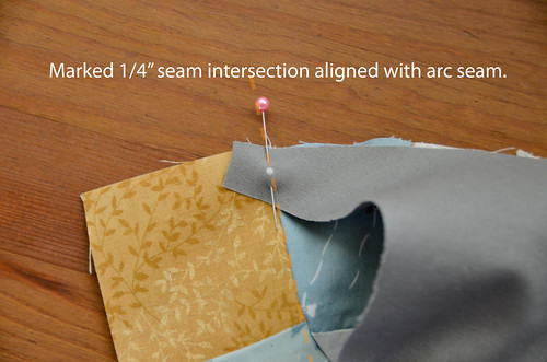 "3. Align the marked 1/4"" seam intersection with the center-square's seam"