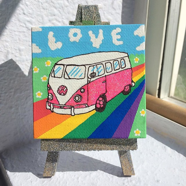 "New mini painting in my Etsy shop! ""Love is a Glitter VW"". 💖🌟✨✨"