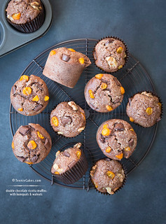 Double Chocolate Ricotta Muffins w/Kumquats & Walnuts | by Cristina A-Moore