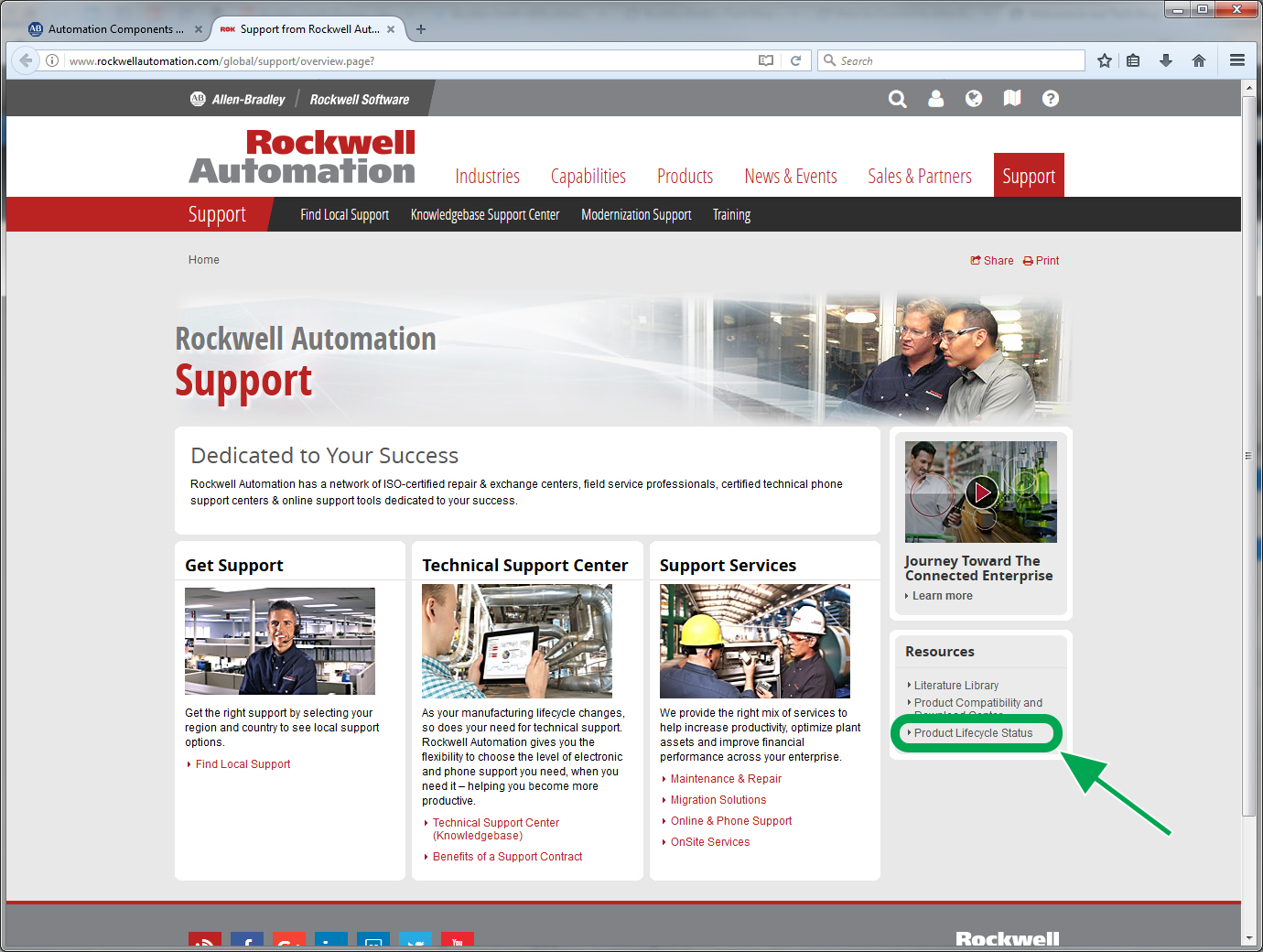 On the Rockwell Automation Support page, click on Product Lifecycle Status
