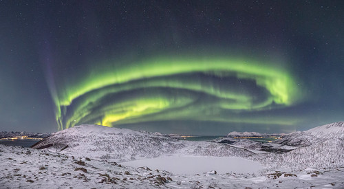Aurora Borealis over Sortland, Northern Norway. Photo Benny Høynes