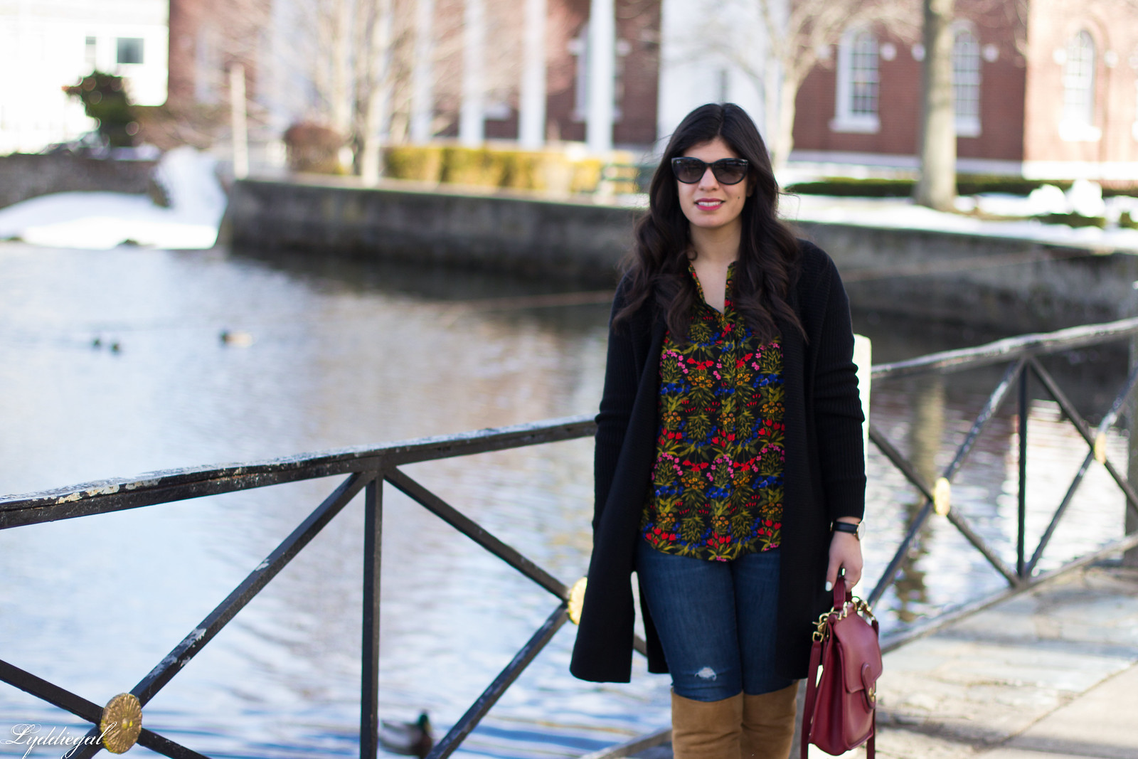 dark floral print blouse, long black cardigan, over the knee boots.jpg