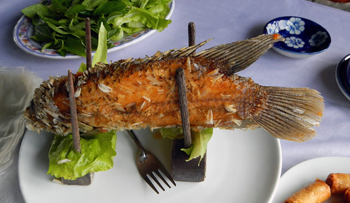Fish for lunch at a restaurant on the Mekong River in Vietnam
