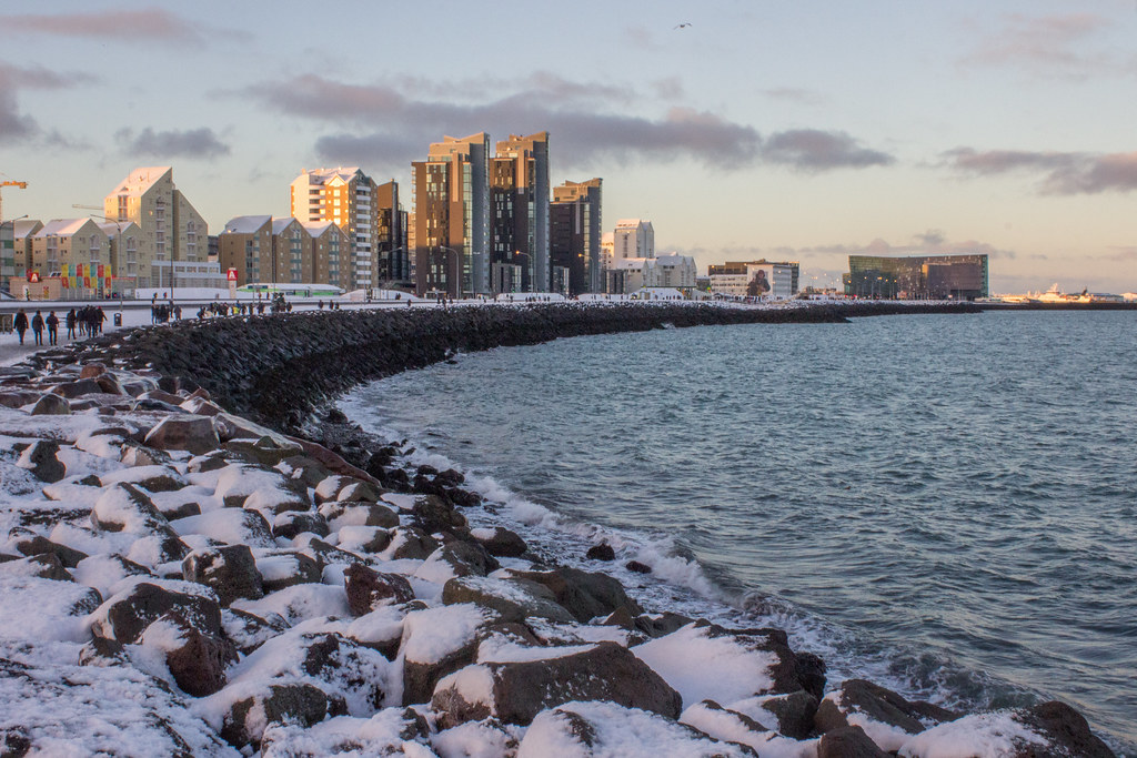 Snow on the Reykjavik sea wall in December