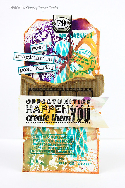 Meihsia Liu Simply Paper Crafts Mixed Media Tag Layered background embellishments Tim Holtz  Opportunities 1