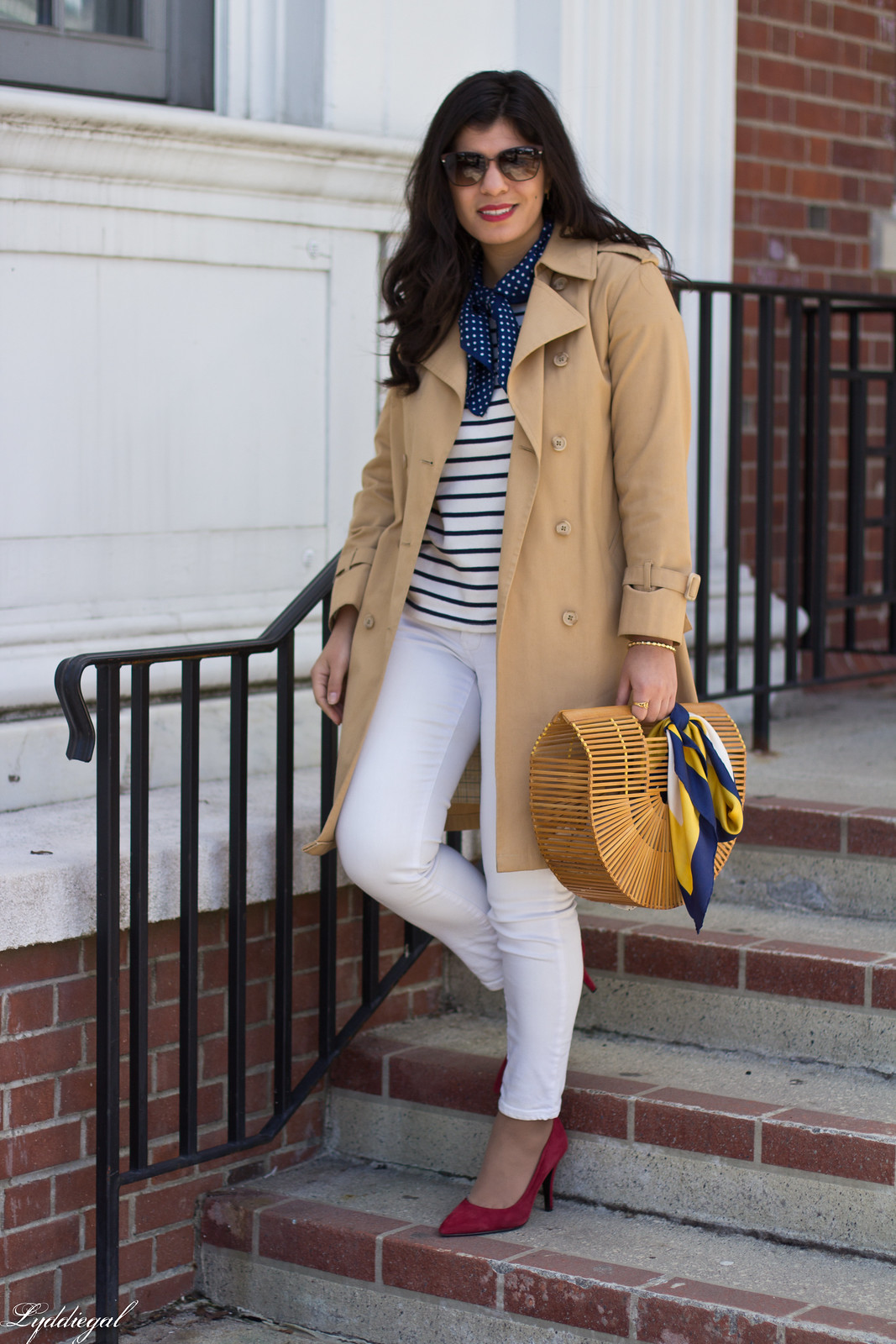 trench, striped shirt, neck scarf, white jeans, bamboo bag-5.jpg