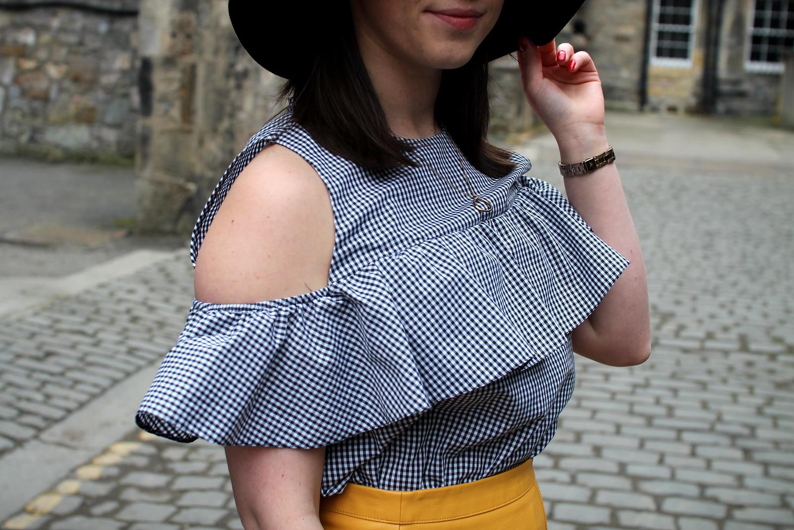 winter brights yellow mini skirt gingham peplum top fashion blogger uk