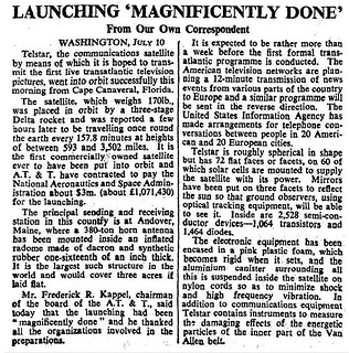 10th July 1962 - Telstar Communications Satellite laumched | by Bradford Timeline