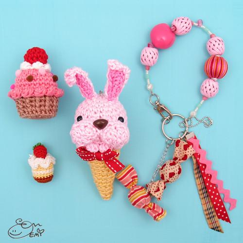 Amigurumi Ice Cream Cone : Amigurumi Bunny Ice Cream Cone Charm I also made the one ...