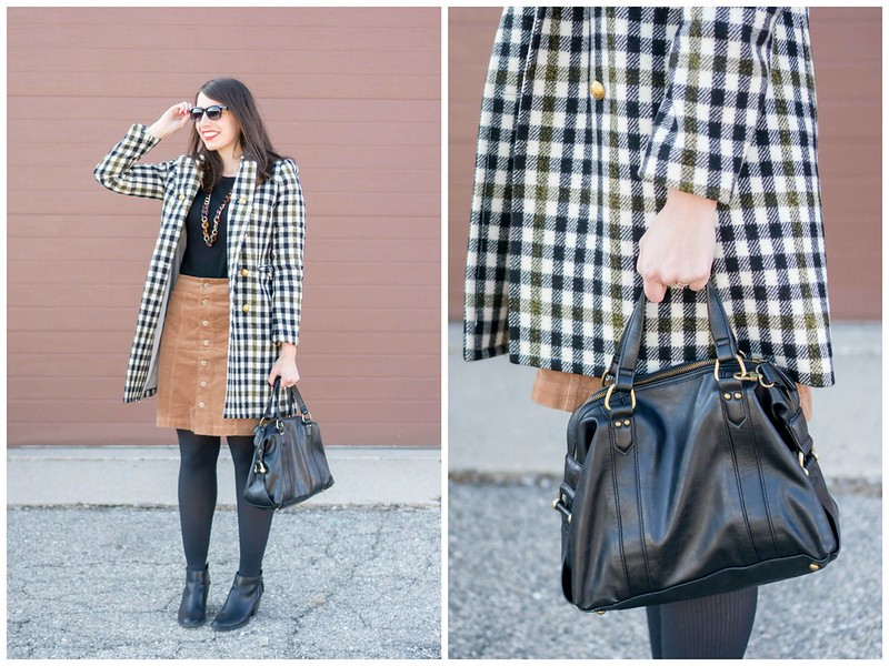 J.Crew check plaid coat + black sweater + tan button down skirt + black ankle boots; winter work outfit | Style On Target blog