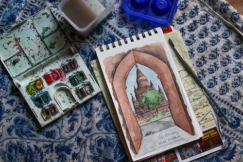 Sketching on-location in Bagan, Myanmar, with my favorite supplies. Artist Candace Rose Rardon