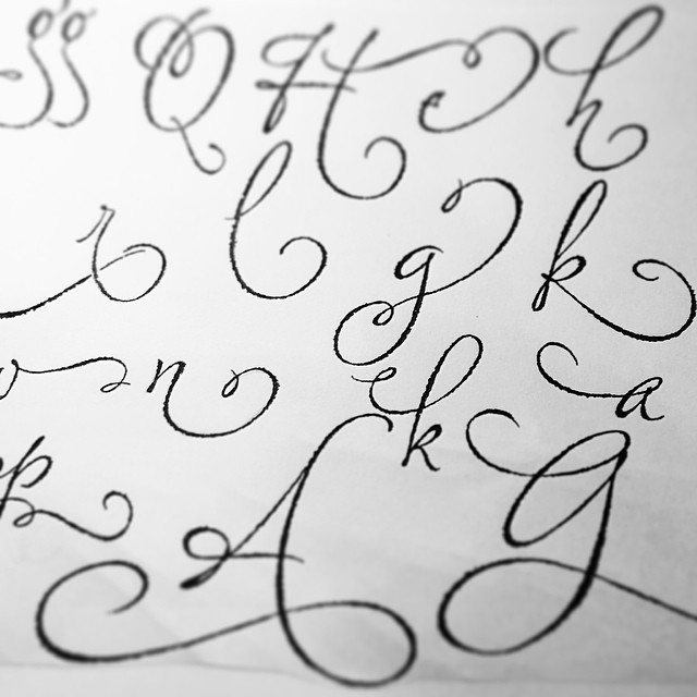 Bits And Pieces Of Lettering Done With A Drafting Style Ruling Pen For Upcoming Font