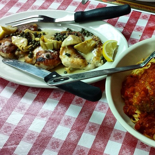 Chicken Saltimbocca And Spaghetti Plus Meatballs At Buca D Flickr